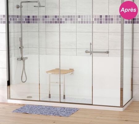 Remplacement d'une baignoire par une douche senior bien équipée après travaux